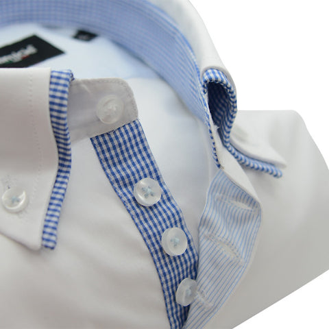 Men's White Shirt with Blue Check Double Collar