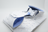 Men's white shirt blue spots and white trim cuff