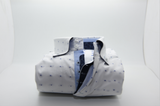 Men's white shirt blue spots and blue trim front