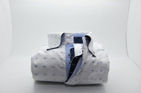Men's White Shirt with Blue Spots and Light Blue Trim