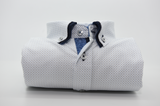 Men's white shirt blue spots navy double collar front