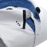 Men's white shirt blue spots and navy double collar upclose