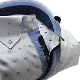 Men's white shirt blue spots and blue trim upclose