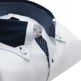 Men's white shirt with navy collar upclose