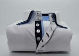 Men's white shirt with navy blue double collar front