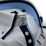 Men's white shirt with navy blue double collar upclose