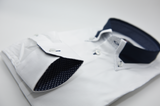 Men's white shirt with navy collar cuff