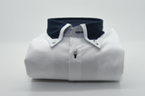 Men's white shirt with navy collar front