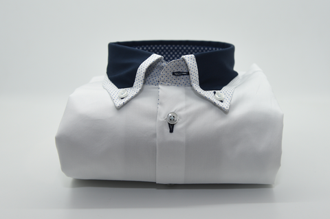 Men's White Shirt with Navy Blue Collar