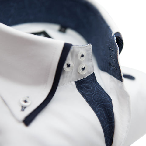 Men's White Shirt with Navy Double Collar and Paisley Trim