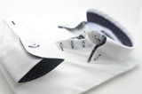 Men's white slim fit shirt with navy patterned double collar cuff