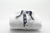 Men's white shirt with navy patterned double collar front