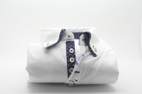 Men's White Shirt with Navy Patterned Double Collar