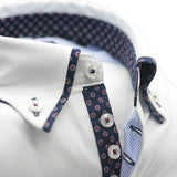 Men's white slim fit shirt with navy patterned double collar upclose
