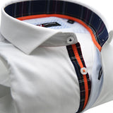 Men's white shirt orange trim upclose