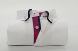 Men's white shirt navy double collar pink check trim front