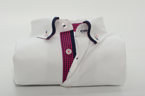 Men's White Shirt with Navy Double Collar and Pink Check Trim