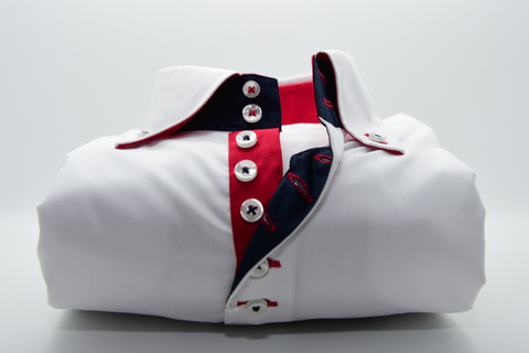 Men's White Single Collar Shirt with Red Contrast