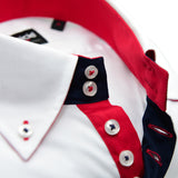 Men's white shirt single collar red contrast upclose