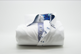 Men's white single collar shirt with royal blue patterned trim front