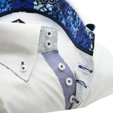 Men's white single collar shirt with royal blue patterned trim upclose