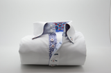 Men's white single collar shirt multicolour trim front