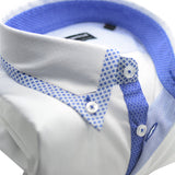 Men's white shirt with sky blue trim upclose