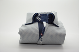 Men's white spotty shirt navy double collar front