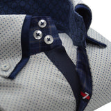 Men's white spotty shirt navy double collar upclose