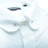 Mens white tie bar shirt upclose
