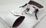 Men's white triple collar shirt floral trim cuff
