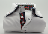 Men's white triple collar shirt floral trim front