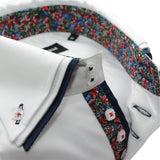 Men's white triple collar shirt floral trim upclose