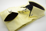 Men's yellow slim fit shirt with black double collar cuff