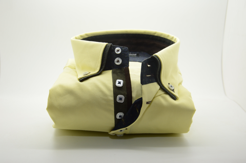 Men's Yellow Shirt with Dark Green Double Collar