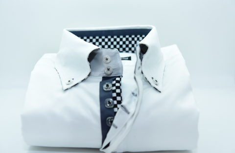 Men's White Single Collar Shirt with Grey Trim