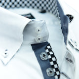 Men's white single collar shirt grey trim upclose