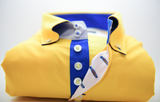 Men's yellow shirt royal blue trim front