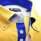 Men's yellow shirt royal blue trim upclose