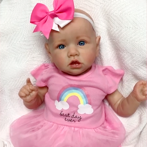 22'' Little Bald Holland With Blue Eyes, Lifelike Handmade Soft Body Toy, Weighted Reborn Baby Girl