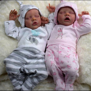 17 inch Real Lifelike Twins Sister Renata and Jayleen Reborn Baby Doll Girl - happybarbies