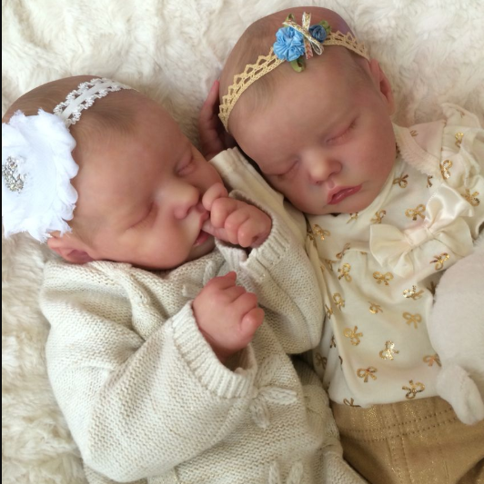 17 inch SoftTouch Real Lifelike Twins Sister Lexi and Allie Reborn Baby Doll Girl - happybarbies