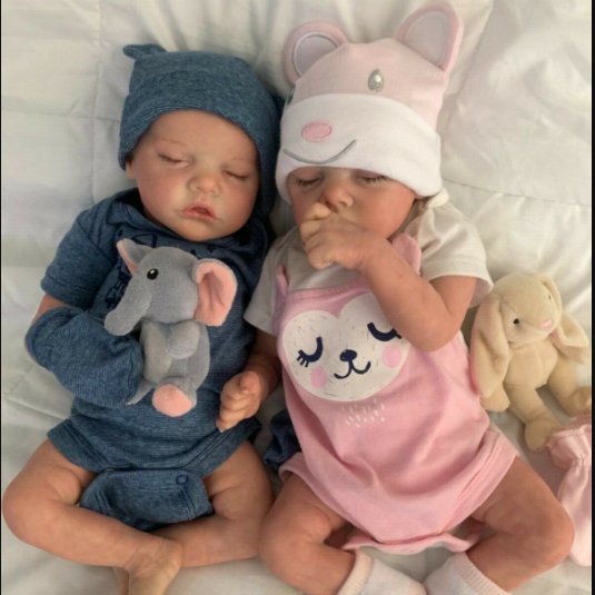17 inch Real Lifelike Twins Sister Katelyn and Cameron Reborn Baby Doll Girl - happybarbies