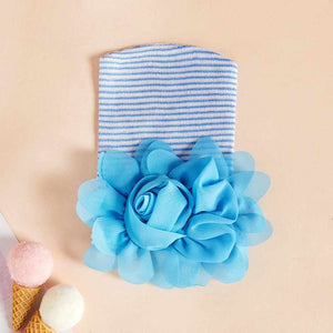Newborn baby cap pink or blue rose flower cotton shape cap