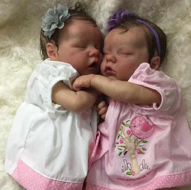 17 inch Real Lifelike Twins  Olga and Cortney Reborn Baby Doll Girl - happybarbies