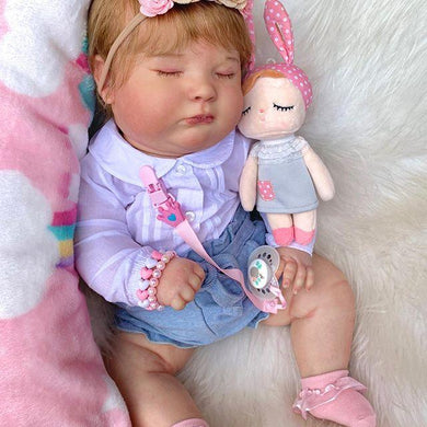 19'' Asleep Reborn Baby Girl Kerri, Realistic Lifelike Handmade Doll Gift - happybarbies