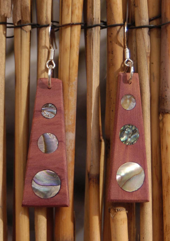 Red Cedar Abalone Dot Earrings