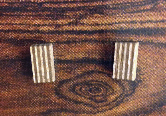 Poplar/Walnut Rectangle Stud Earrings