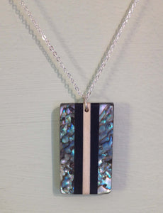 Abalone and Wood Rectangle Necklace