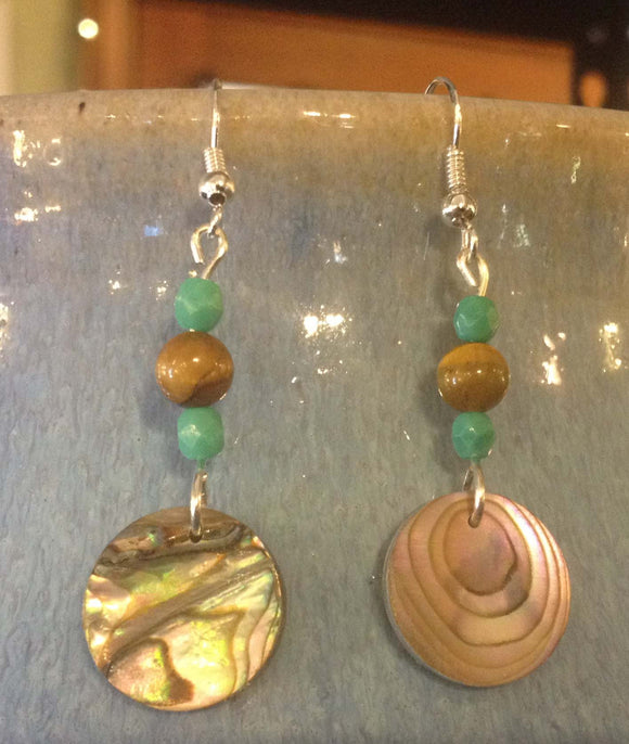 Tiger's Eye, Glass and Abalone Disc Earrings